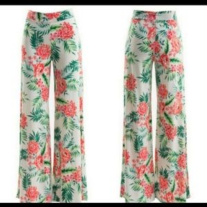 Pants - Cream Tropical Wide Leg Pants